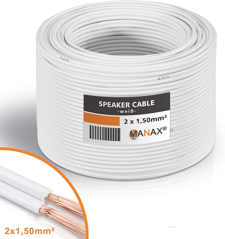 Unbekannt Cable de Altavoz (2x 1,5mm², 30m), Rollo Weiß