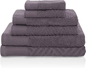 SUPERIOR 100% Egyptian Cotton 6 PC Basket Weave- Jacquard and Solid Towel Set- Grey (2 face+2 Hand+2 Bath)