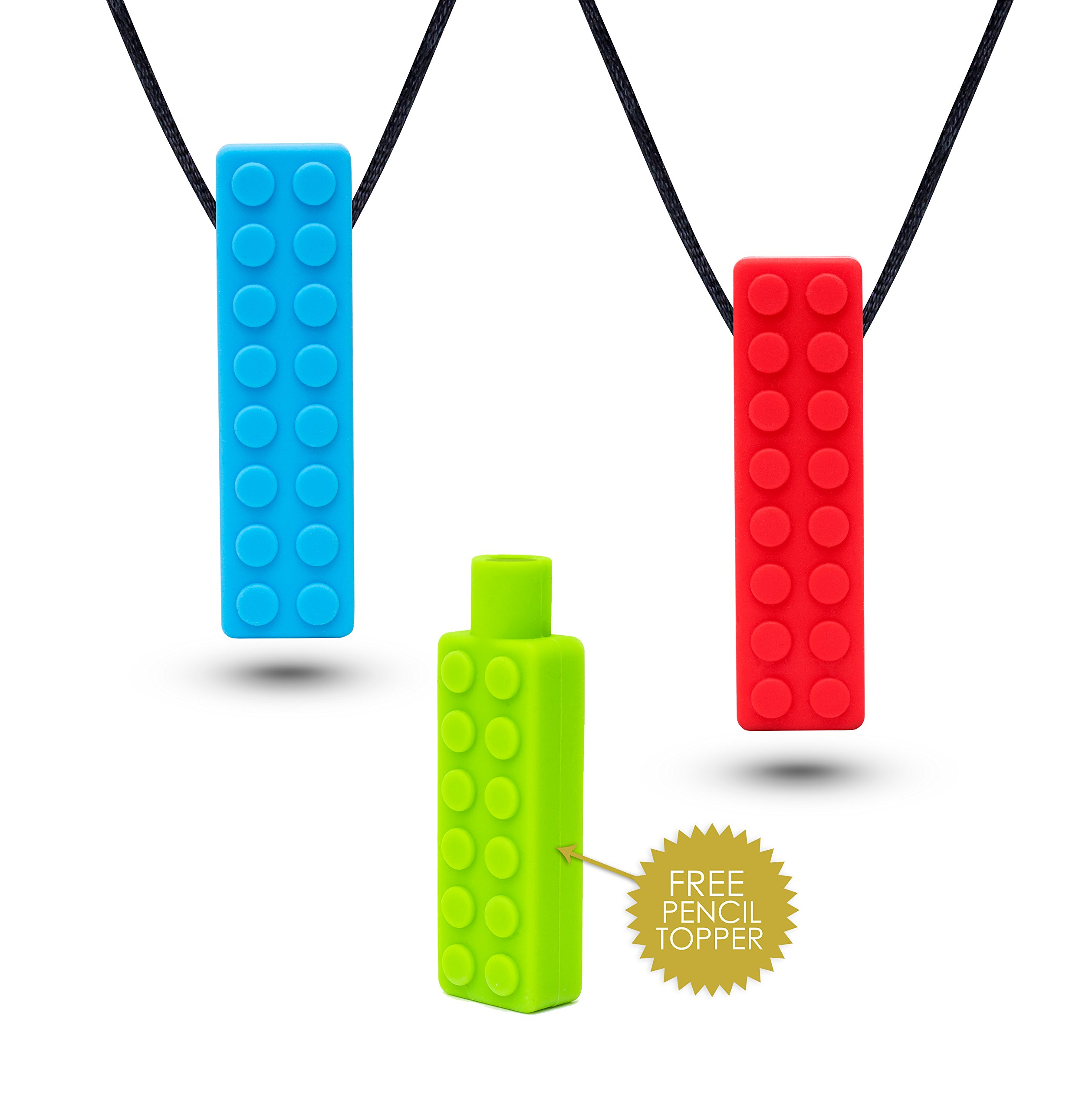 Sensory Necklace (2 PACK + FREE PENCIL TOPPER) - Chewy Necklace - Sensory Chewelry for Kids with Autism ADHD Biting Needs - Chew Toy for Boys and Girls - MORE FIRM by Optimum (Image #9)