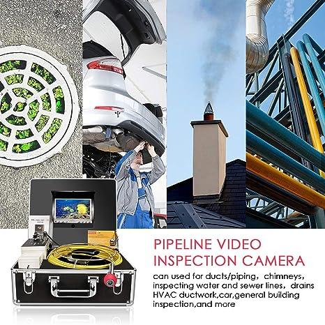 Cámara de inspección de tuberías, Drenaje Alcantarilla endoscopio Industrial anysun PIC20 Impermeable IP68 Serpiente Sistema de Video con 7 Pulgadas Monitor ...