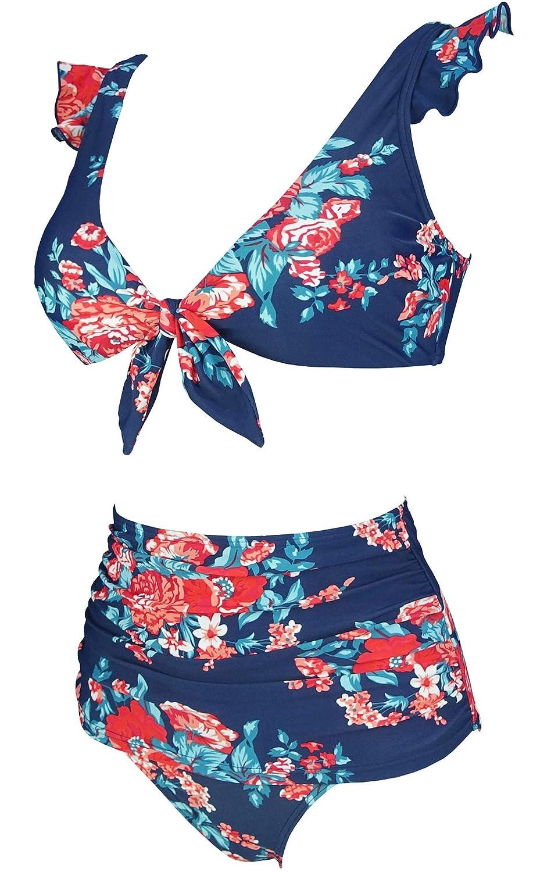 f2a145ff8e12b Amazon.com: COCOSHIP Women's Retro Floral High Waisted Shirred Bikini Set  Tie Front Closure Top Ruffle Swimsuit(FBA): Clothing