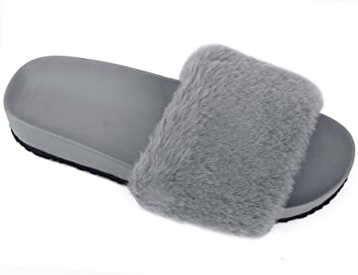 f12e4684401496 MaxMuxun Women Shoes Faux Fur Flat Sandals Grey Indoor Outdoor Fuzzy  Slippers Size 5