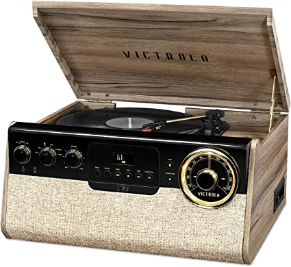 Victrola Wood Bluetooth Retro Record Player with 3-speed Turntable and Radio