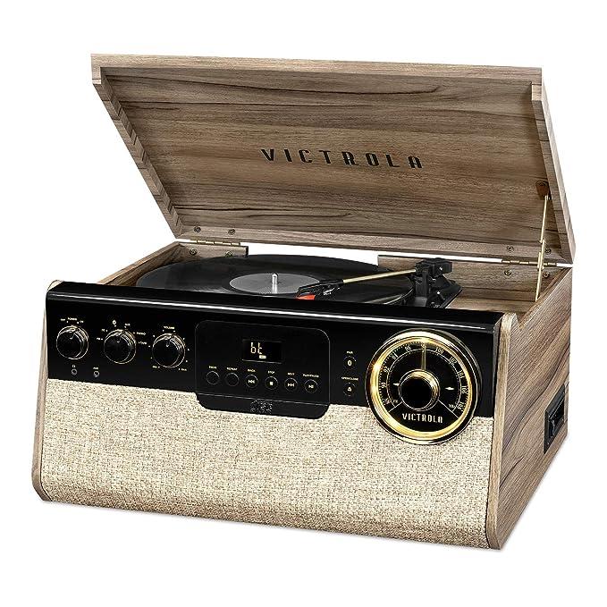 Victrola Reproductor de grabación Bluetooth 6 en 1 con Tocadiscos ...
