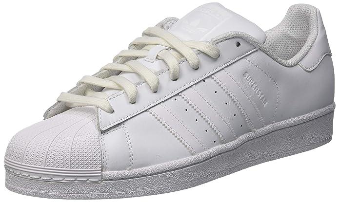 adidas Unisex-Erwachsene Superstar Foundation Low-Top Weiß mit weißen Streifen