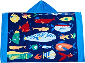 Wowelife Beach Towels for Boys Fish Hooded Towel Upgraded for Bath, Pool and Beach, 100% Cotton(Fish Fun)