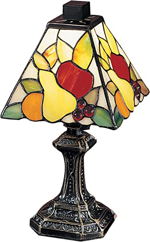 Dale Tiffany TA100122 Fruit Mini Tiffany Accent Table Lamp, Antique Brass