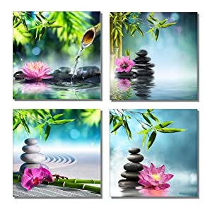 "789Art – Bamboo Zen Canvas Wall Art Spa Artwork for Walls Contemporary Home Decorations for Living Room Office Bedroom Bathroom Modern Decor(12""x 12""x 4 Panels Framed)"