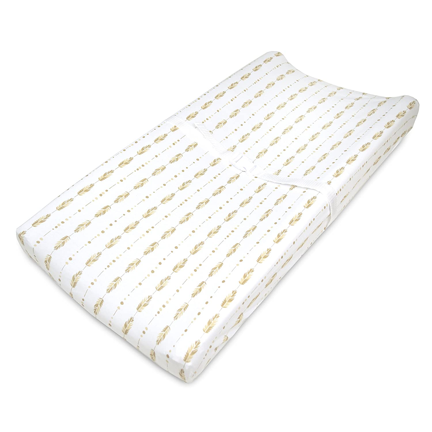 TL Care Printed 100% Cotton Jersey Knit Fitted Contoured Changing Table Pad Cover, Sparkle Gold/Pink Feathers 3555 GP/FE