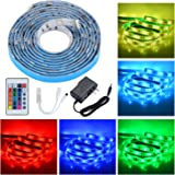 PryEU LED Tape Ribbon Strip Lights 12V 2M (6 -7 Ft) 5050 SMD RGB Color Changing Waterproof with IR Remote Control and Power Supply for Under Kitchen Cabinet Bed Mirror Xams Ambient Lighting Decoration