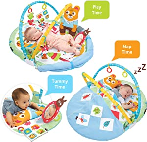 Play 'N' Nap. 3-in-1 Baby Activity Gym with Blanket, Tummy Time Pillow & Sensory Toys for 0-12 Months. Padded, Foldable, Machine Washable Infant Play Mat by Yookidoo.