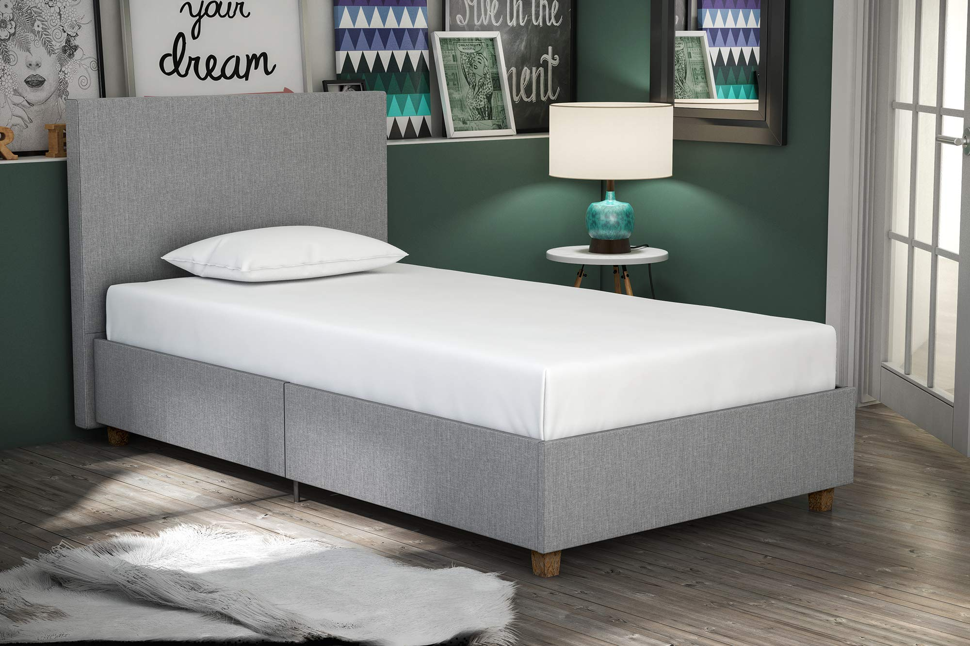 DHP Alexander Upholstered Platform Bed with Wooden Slats Support, Light Grey Linen - Twin Size by DHP