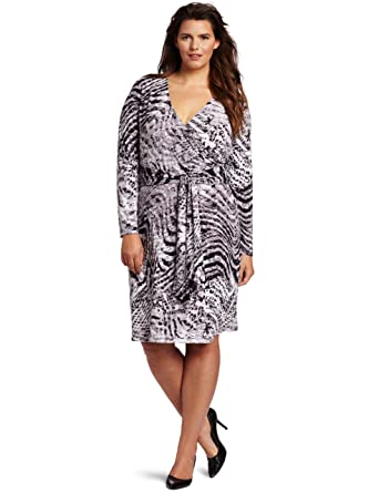 Jones New York Women\'s Plus-Size Long Sleeve Faux Wrap Dress, Black ...