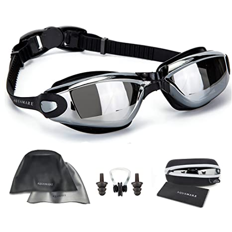 d5f9cceedf4e Swimming Goggles with Reversible Swim Cap + Nose Clip + Ear Plugs +  Protective Case +