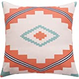 BreezyLife Aztec Throw Pillow Cover Ethnic Decorative Pillow Case with Soft Linen Burlap 18x18 Inches Square Linen Cushion Cover for Outdoor Home Decor