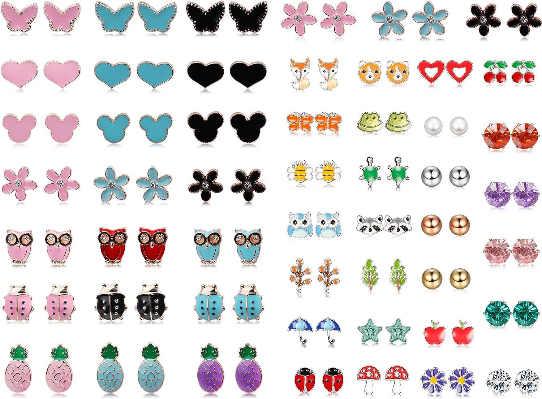 JOERICA Girls Stainless Steel Stud Earrings for Women Toddler Flower CZ Animals Pineapple Cute Earrings Set 51 Pairs