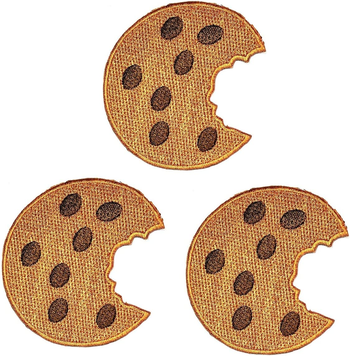 Umama Patch Set of 3 Cute Cookie Embroidered Patch Chocolate Chip Cookie Delicious Dessert Food Cartoon Kids Sew Iron On Patches Clothes Dress Plant Hat Jeans Sewing Applique DIY Accessory