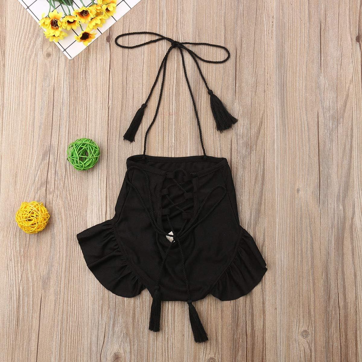 Turuste Newborn Baby Girls Swimsuits One-Piece Halter Neck Backless Beachwear Black Bandage Swimwear Bathing Suit
