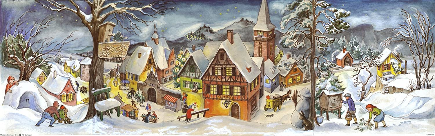 Large Panoramic Advent Calendar 24 doors 213 x 650 mm - Village in the snow - with glitter and translucent windows - RS 265 - traditional antique German Design Richard Sellmer Verlag