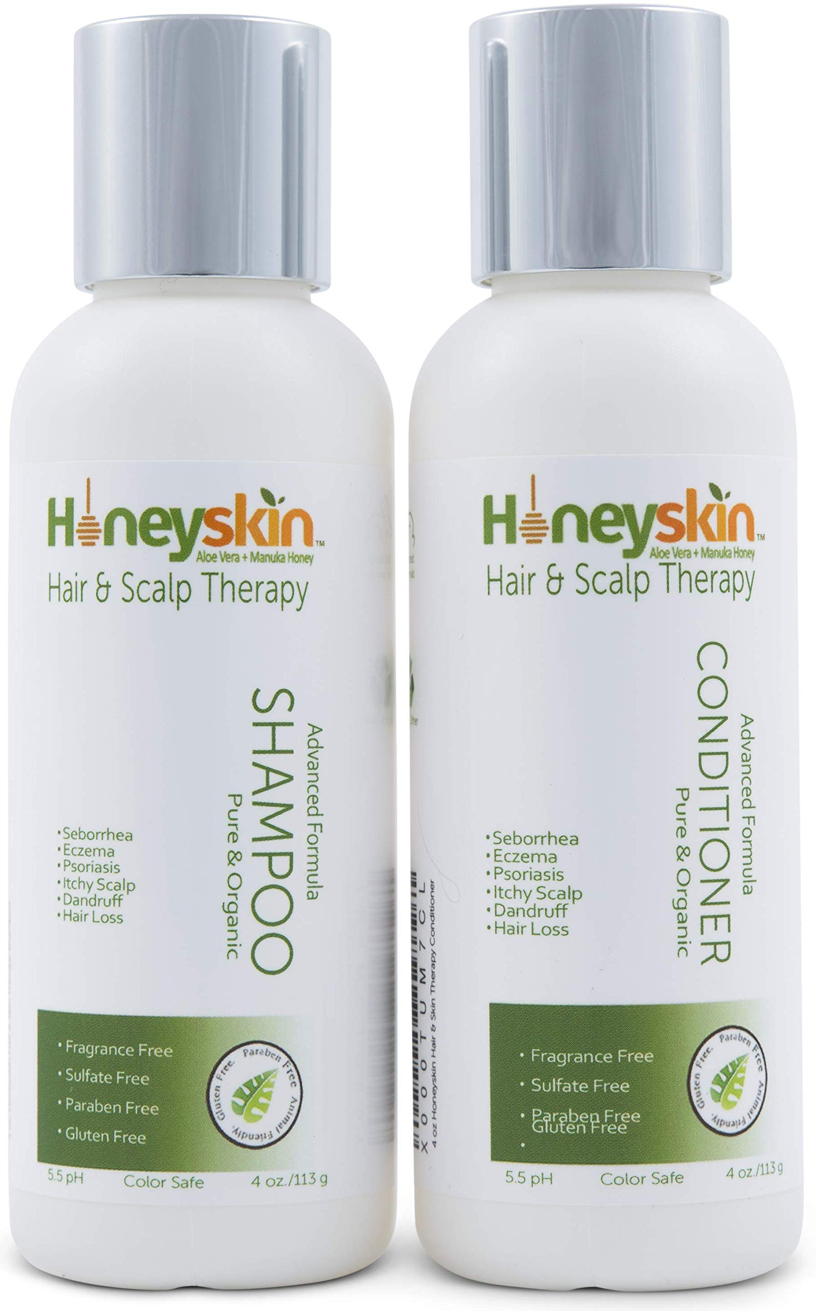 Hair Growth Shampoo and Conditioner Set - with Manuka Honey, Aloe Vera and Coconut Oil - for Frizzy, Itchy and Dry Scalp - Hair Loss and Thinning Treatment - Paraben and Sulfate Free (4oz) by Honeyskin Organics