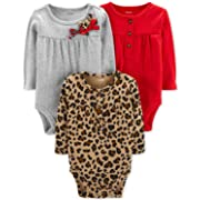 Carter's Unisex Baby Long-Sleeve Bodysuits (3 Months, 3 Pack Holiday)