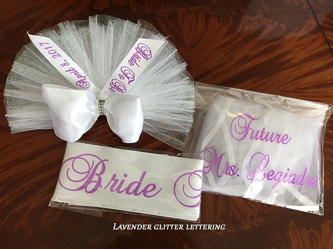 bridal shower gift sash hair veil booty veil tutu veil booty