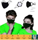 3 Layer Cotton Black Mask Washable, Breathable, Lightweight & Reusable Cover For Adult, Men & Women, Flexible Fit dust…