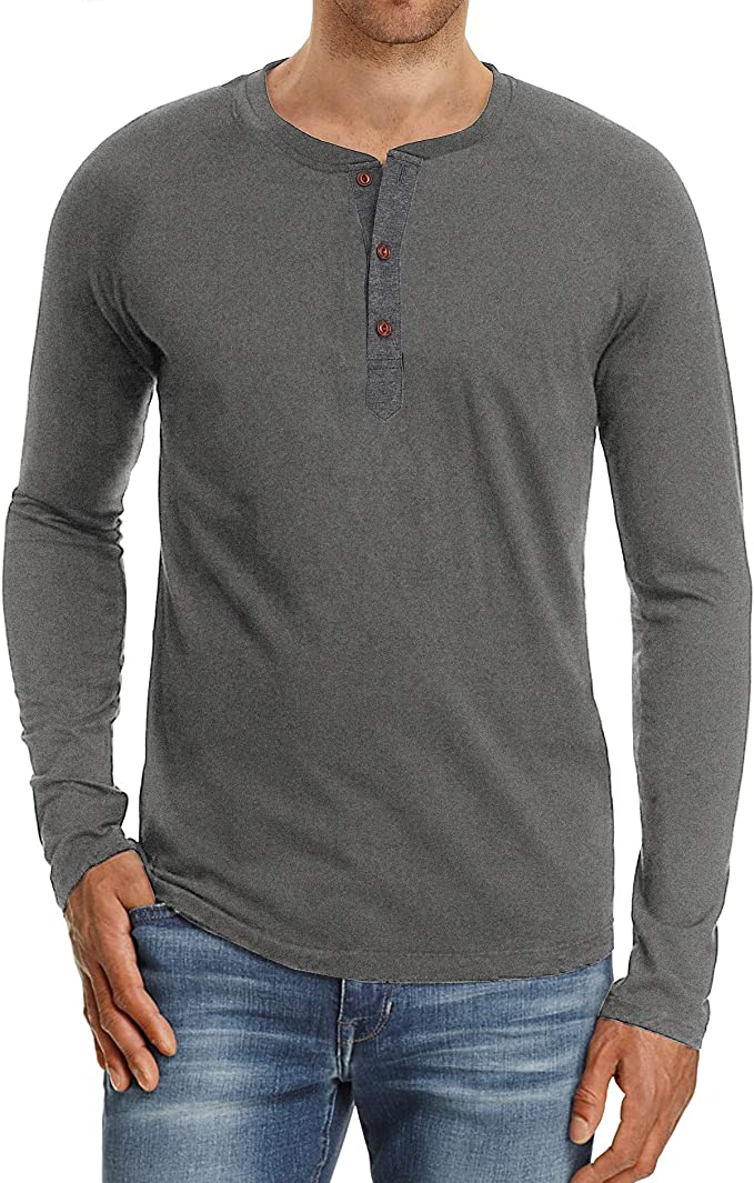 NITAGUT Mens Fashion Casual Front Placket Basic Long Sleeve Henley T-Shirts (S, Dark Gray) at Amazon Men's Clothing store