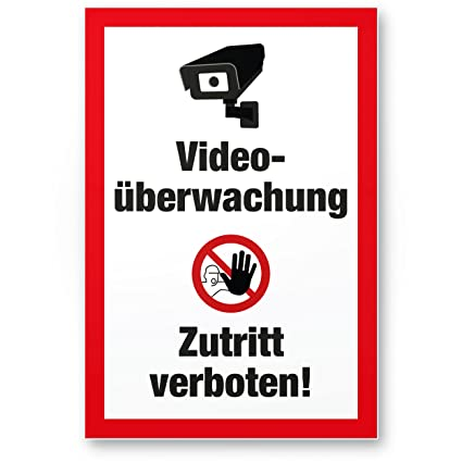 Video Vigilancia/acceso prohibido vídeo mediante wacht – cartel de advertencia/Vorsicht – Letrero