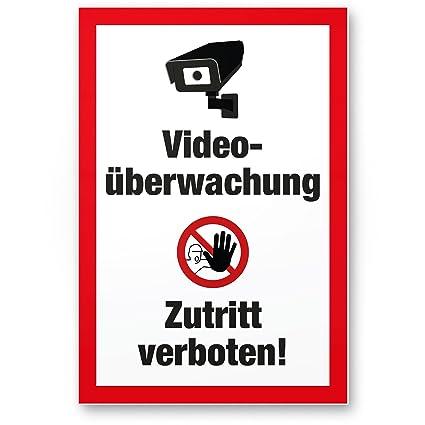 Video Vigilancia/acceso prohibido vídeo mediante wacht – cartel de advertencia/Vorsicht – Letrero