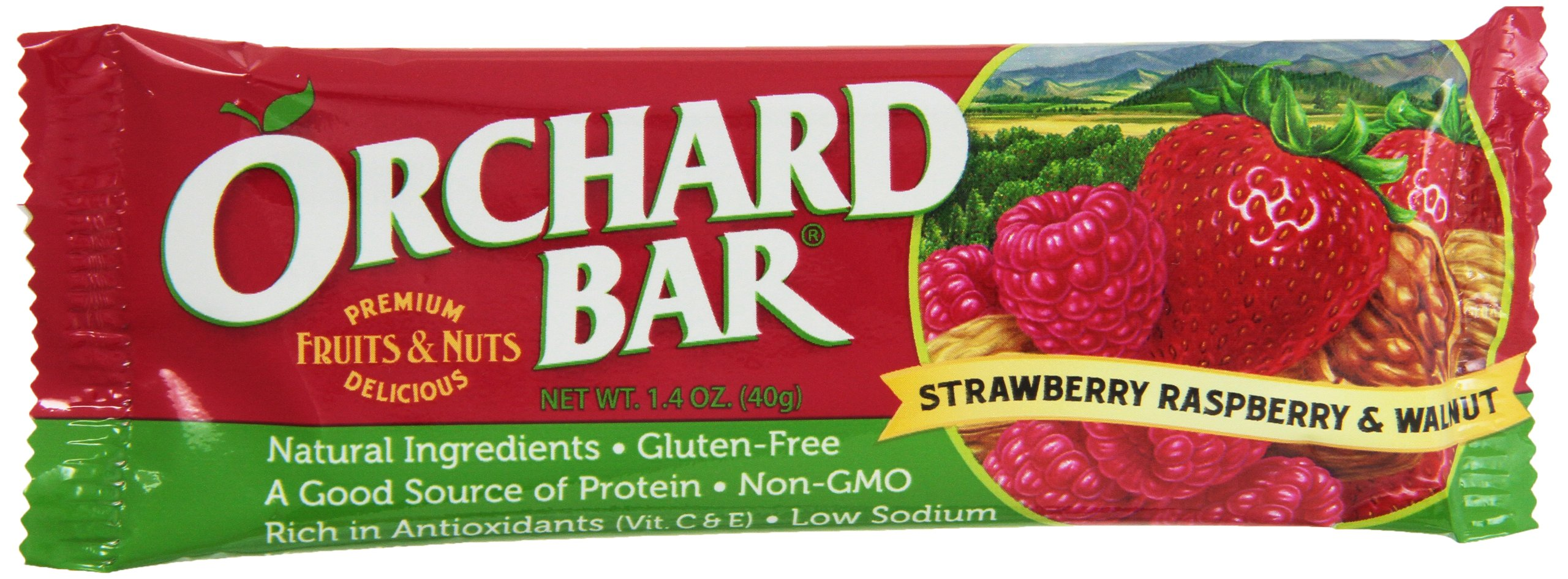 Orchard Bars Fruit and Nut Bar, Strawberry/Raspberry/Walnut, 1.4 Ounce (Pack of 12)