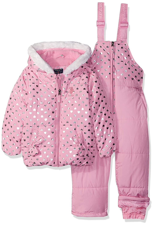 U.S. Polo Assn. Girls\' Toddler Foil Printed Snowsuit US Polo Association Z_UC30H