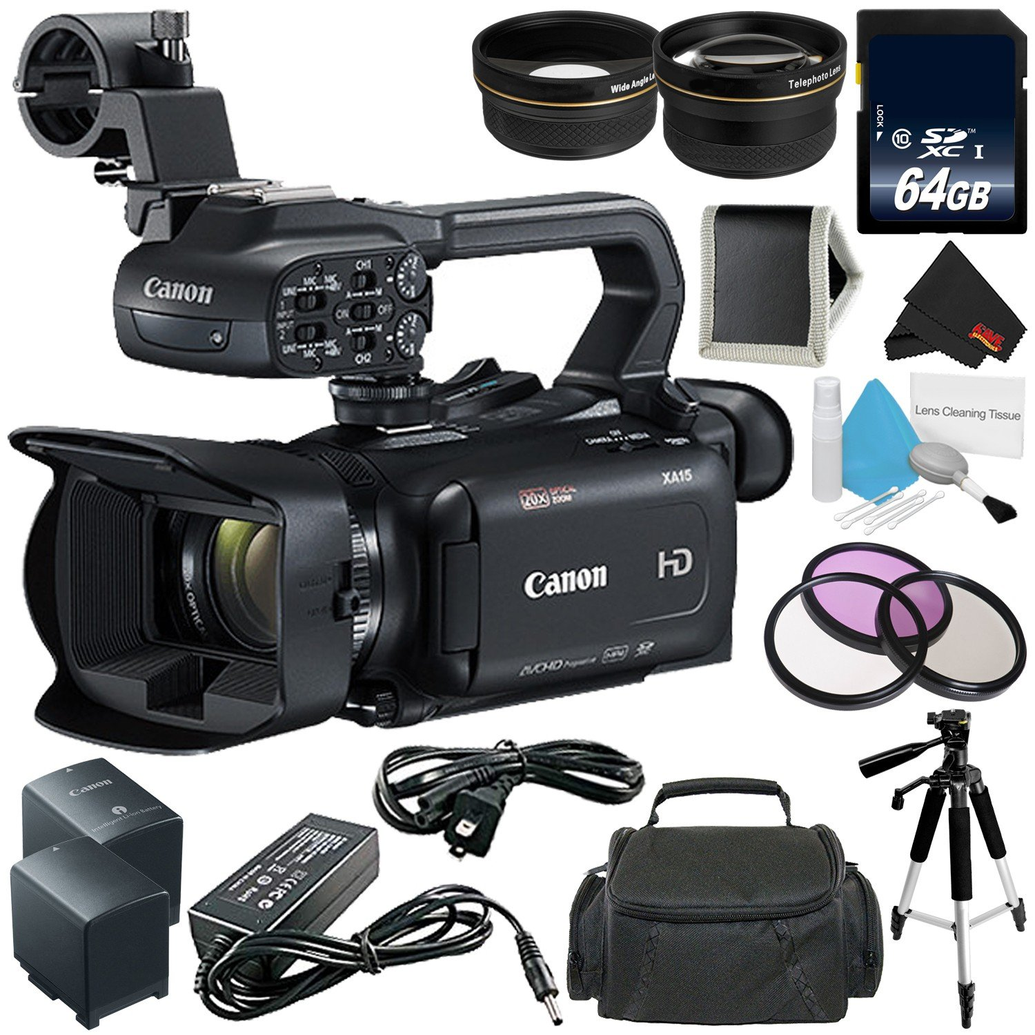 Canon XA11 Compact Professional Camcorder - Full HD with HDMI and Composite Output - Bundle with 64GB Memory Card + More
