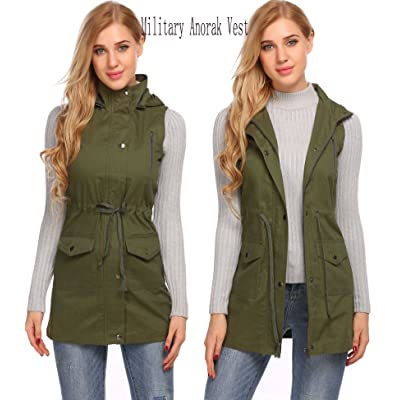 Adidome Womens Vest Sleeveless Military Anorak Drawstring Hooded Zipper Jacket w/ Pocket(S-XXL)