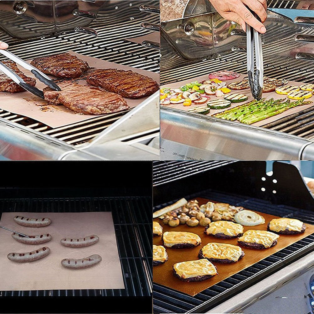 happyhouse009 Barbecue Grill Mat BBQ Grill Net Baking Mesh,Outdoor BBQ Teflon Grill Mat Barbecue Non-Stick Heat-Resistant Oven Sheet Tool