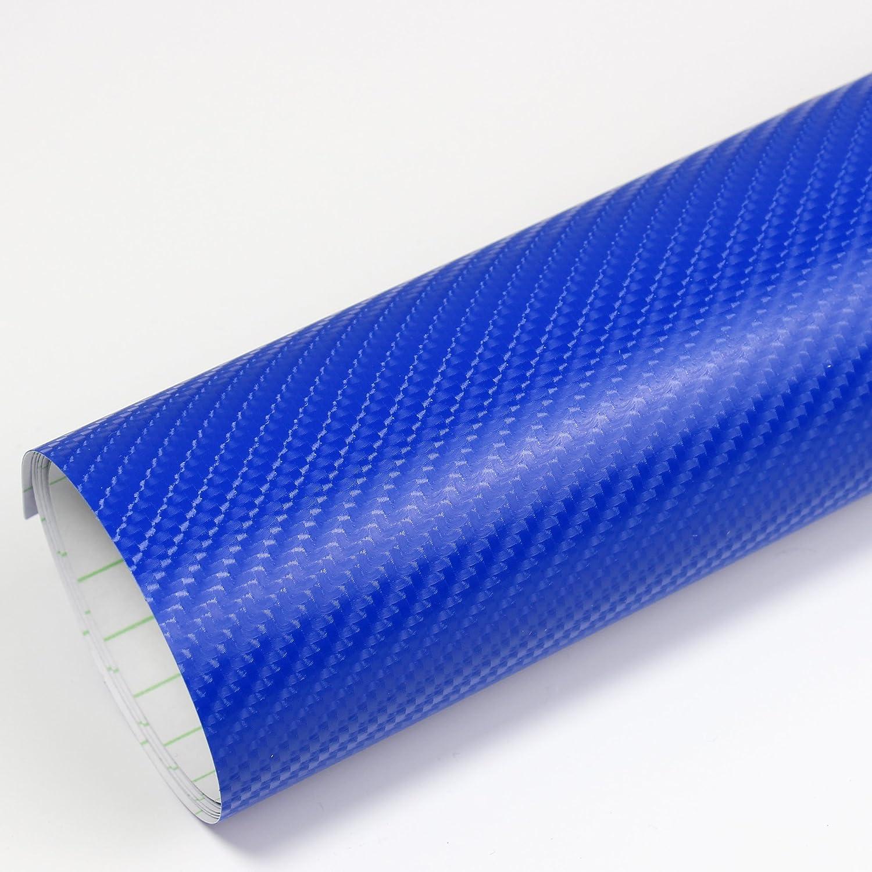 Rapid Teck Premium - Película Auto sin Burbuja con Conductos de Aire para Coche Laminado y 3D Pegar en Mate Brillo y Carbono - 4D Carbono Azul, 1m x 1,52 m: Amazon.es: Hogar