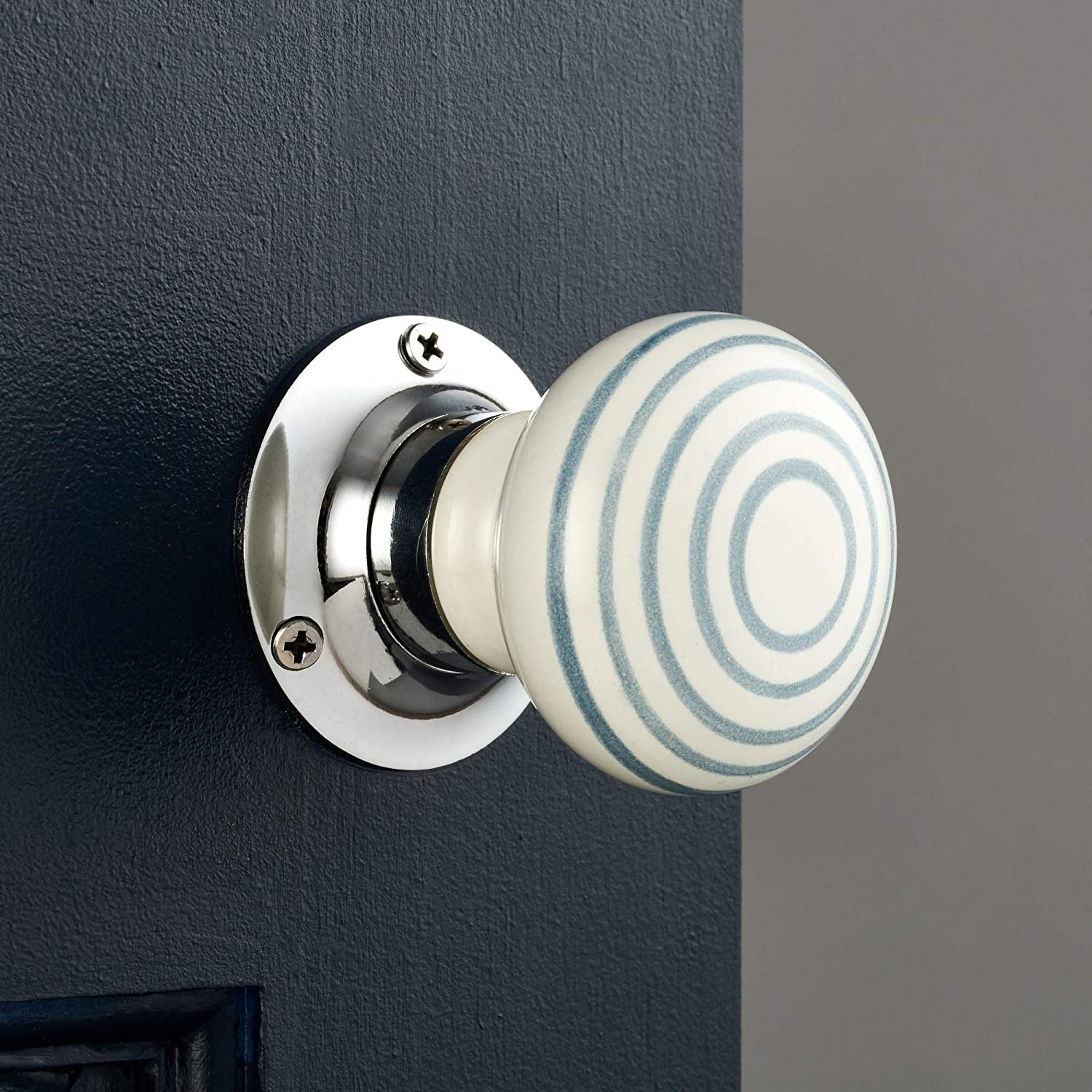 Turning door handles for internal doors Pushka Home Pair of Ceramic grey striped white internal spring-loaded mortice door knobs Supplied with spindle bar and screws. In a fun design with grey candy stripes on white and chrome base