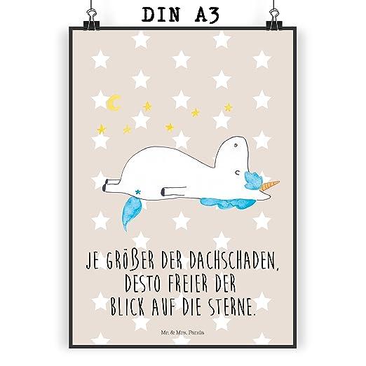 Póster, postal o tarjeta de felicitación con diseño de unicornio y ...