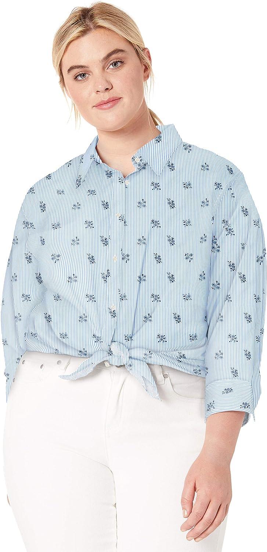 Chaps Womens 3//4 Sleeve Non Iron Broadcloth Shirt
