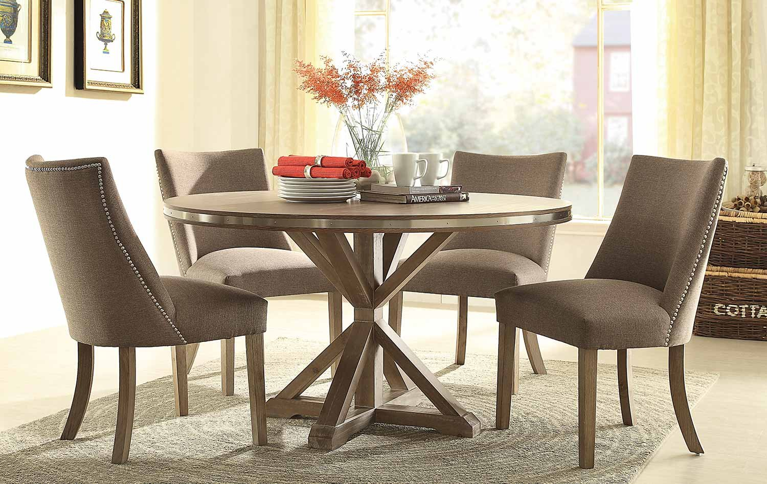 Amazon com industrial contemporary dining table set in weathered oak round table 4 chairs table chair sets