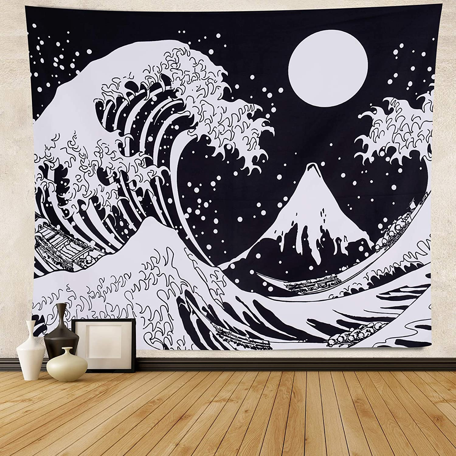 Japanese Wave Tapestry Kanagawa Great Wave Wall Hanging Tapestry Ocean Wave Wall Tapestry with Sun Tapestries Black and White Tapestry for Living Room Bedroom Dorm 51.2ʺ × 59.1ʺ