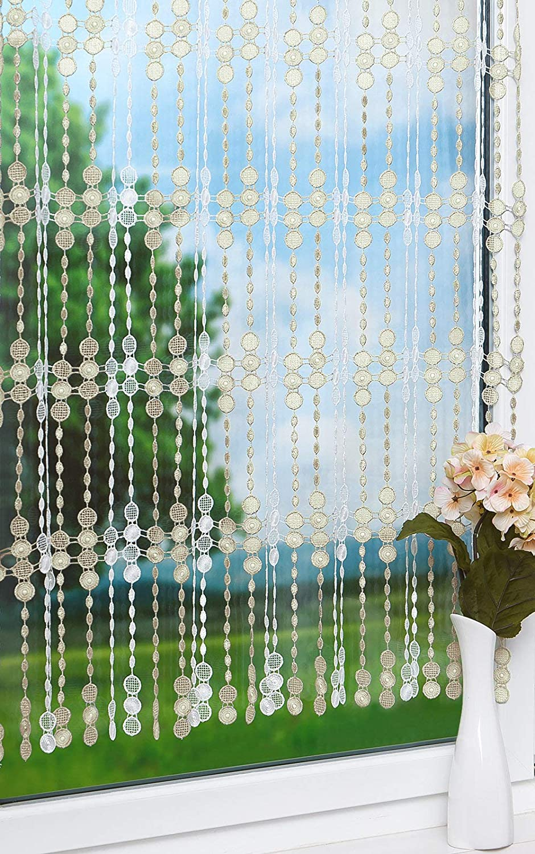 45cm LYSEL Scheibengardine Perlenschnur 50cm beige Bx H