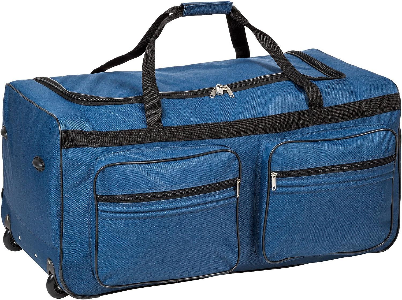 TecTake XXL Bolsa de Viaje Deportes Maleta Trolley Grande 160L | con Ruedas | Disponible en Diferentes colorestelescópica | (Azul | No. 402215)