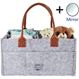 Baby Diaper Caddy Organizer Portable Toy Storage Organizer Baby Shower Gift Basket Large Diaper Bag for Infants,Boys and Girls with Leather Handle Newborn Register Must Have