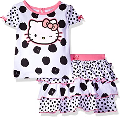 Hello Kitty Baby Girls 100/% Cotton 3 Piece Skirt Set