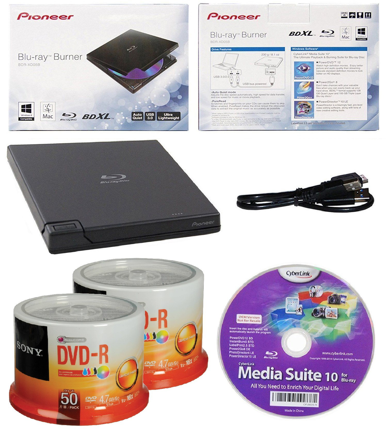 Pioneer 6x BDR-XD05B Ultra Lightweight External Blu-ray BDXL Burner, Cyberlink Software and USB Cable Bundle with 100pk DVD-R Sony Accucore 4.7GB 16X White Inkjet Printable