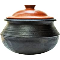 Craftsman India Unglazed Earthen Handi/Clay Pot for Cooking 1.5 Liter