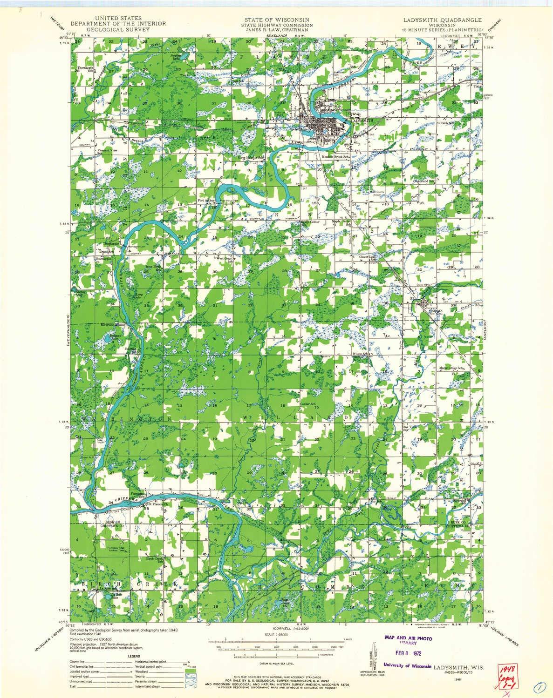 Amazon Com Yellowmaps Ladysmith Wi Topo Map 1 48000 Scale 15 X