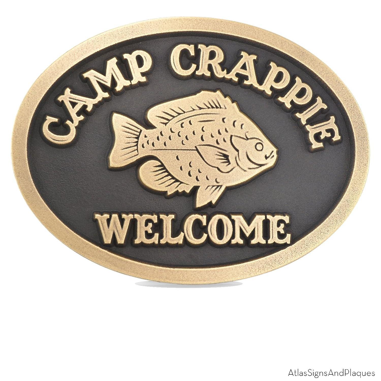 Camp Crappie Plaque – 12 x 9 – Raised真鍮メタルコーティングSign B00S04VA4S