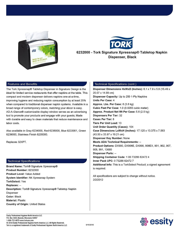 Amazon.com: Tork 6232000 Xpressnap Tabletop Napkin Dispenser, Plastic, Black (Pack of 4): Industrial & Scientific